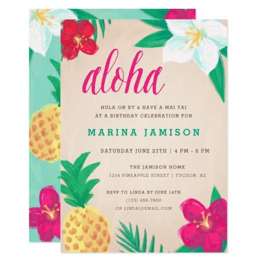 Tropical Hawaiian Luau Party Invitations