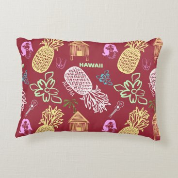 Beach Themed Tropical Hawaiian Luau Patterned Red Decorative Pillow