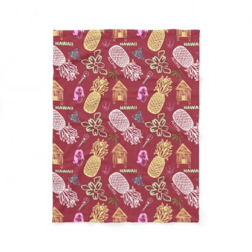 Beach Themed Tropical Hawaiian Luau Patterned Red Fleece Blanket