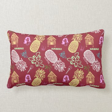 Beach Themed Tropical Hawaiian Luau Patterned Red Lumbar Pillow