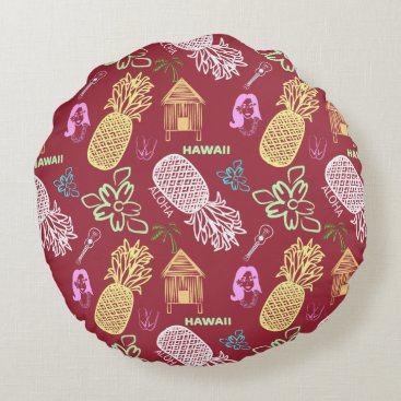 Beach Themed Tropical Hawaiian Luau Patterned Red Round Pillow