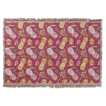 Beach Themed Tropical Hawaiian Luau Patterned Red Throw