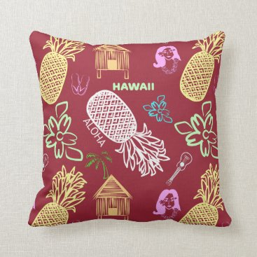 Beach Themed Tropical Hawaiian Luau Patterned Red Throw Pillow
