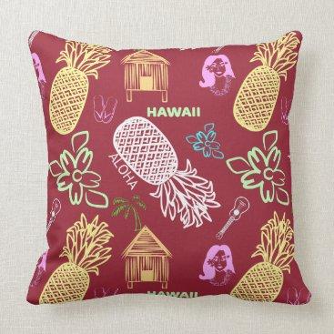 Beach Themed Tropical Hawaiian Luau Patterned Red Throw Pillow
