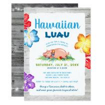 Tropical Hawaiian Luau | Rustic Floral Pig Roast Invitation