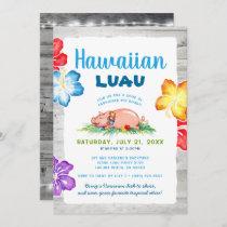 Tropical Hawaiian Luau   Rustic Floral Pig Roast Invitation