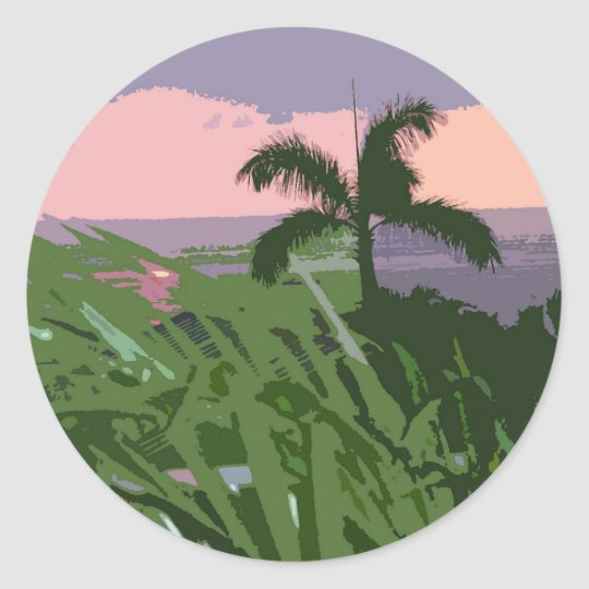 Tropical Hawaiian Palm and Seascape Classic Round Sticker
