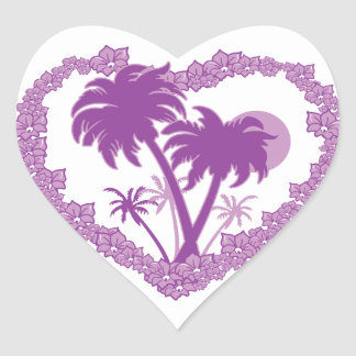 Tropical Hawaiian Palm Tree Heart Heart Stickers
