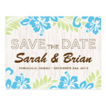 Tropical Hawaiian Save the Date Turquoise Postcard