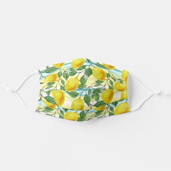 Tropical Hawaiian Summer Lemons Fruit Flower Art Adult Cloth Face Mask