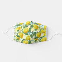 Tropical Hawaiian Summer Lemons Fruit Flower Art Cloth Face Mask