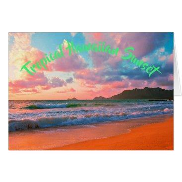 Hawaiian Themed Tropical Hawaiian Sunset Card