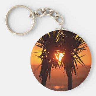 Tropical Hawaiian Sunset Palm Trees Silhouette Keychain