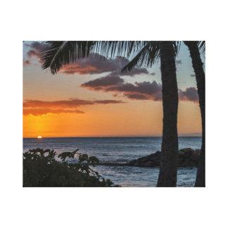 Tropical Hawaiian sunset photograph Canvas Print
