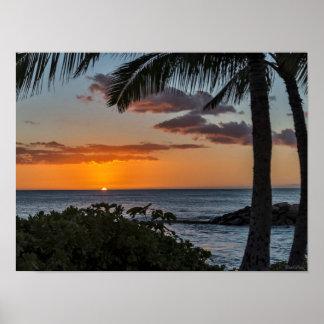 Tropical Hawaiian sunset poster