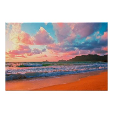 Hawaiian Themed Tropical Hawaiian Sunset Poster