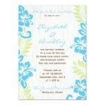 "Tropical Hawaiian Wedding Invitation Turquoise 5"" X 7"" Invitation Card"