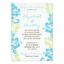 Tropical Hawaiian Wedding Invitation Turquoise