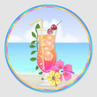 Tropical Hawiian Luau Cupcake Toppers Stickers sticker