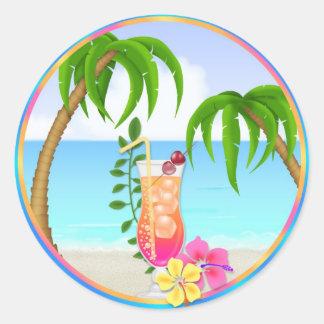Tropical Hawiian Luau Cupcake Toppers Stickers