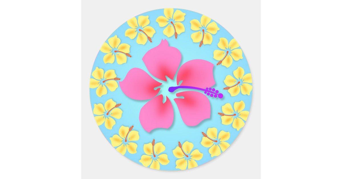 Tropical Hawiian Luau Cupcake Toppers Stickers | Zazzle