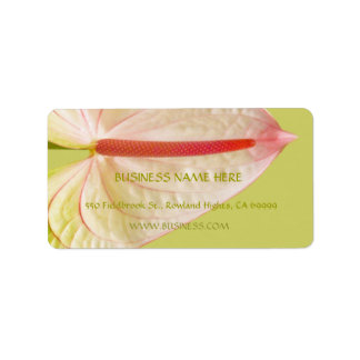 Tropical Heart-Shaped Pink Anthurium Flower Label