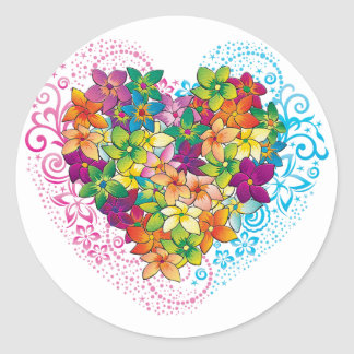 Tropical Heart Classic Round Sticker