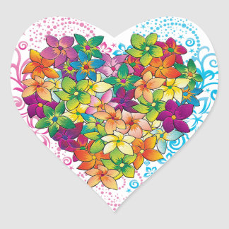 Tropical Heart Heart Stickers