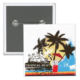 tropical heat design pinback button