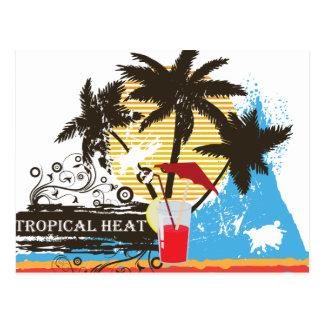 tropical heat design postcard