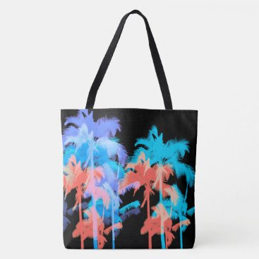 Beach Themed Tropical Heat Wave Neon Hawaiian Palm Beach Bag