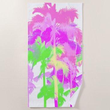 Hawaiian Themed Tropical Heat Wave Neon Hawaiian Palm Trees -White Beach Towel