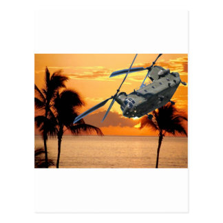 Tropical Helicopter Flight Postcard