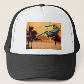 Tropical Helicopter Flight Trucker Hat