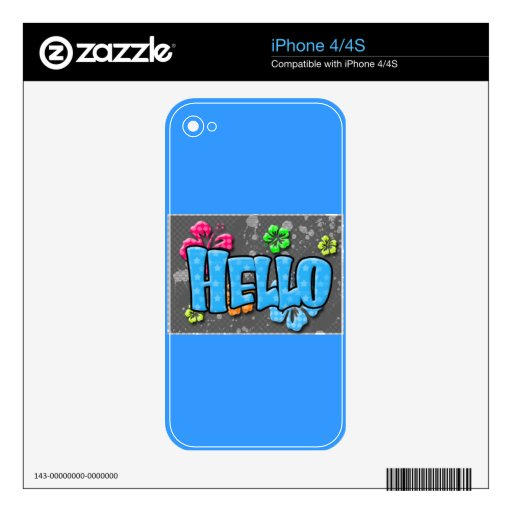 TROPICAL HELLO COLORFUL HIBISCUS FLOWERS COMMENTS iPhone 4S SKINS