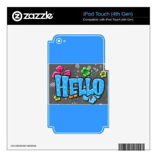 TROPICAL HELLO COLORFUL HIBISCUS FLOWERS COMMENTS iPod TOUCH 4G SKINS
