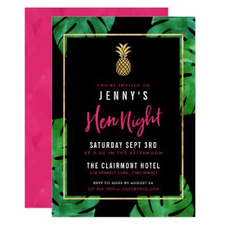 Tropical Hen Night / Pink & Black & Gold Pineapple Card