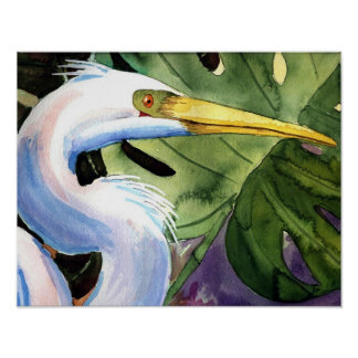 Tropical Heron Poster