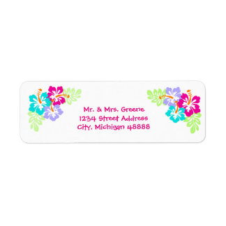 Tropical Hibiscus - Address Label