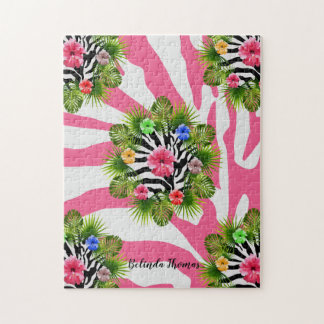 Tropical hibiscus and exotic pink zebra stripes jigsaw puzzle