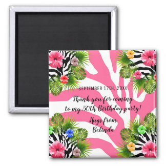 Tropical hibiscus and exotic pink zebra stripes magnet