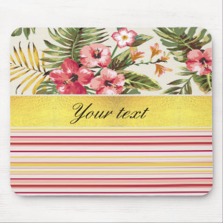 Tropical Hibiscus and Stripes Mouse Pad