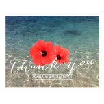 Tropical Hibiscus & Beach Thank You Postcard