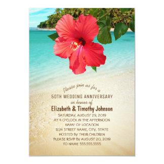 Tropical Hibiscus Beach Wedding Anniversary Party Card