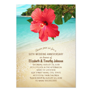 Tropical Hibiscus Beach Wedding Anniversary Party Invitation