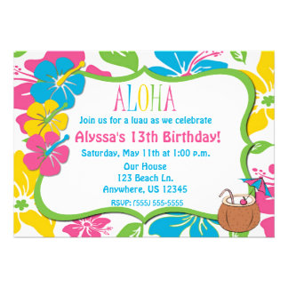 Tropical Hibiscus Birthday or Shower Invitation