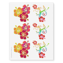 Tropical Hibiscus blooms colored   your ideas Temporary Tattoos