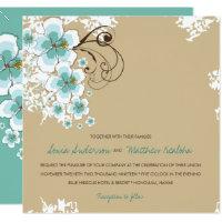 Tropical Hibiscus Blue Luau Beach Wedding Invite