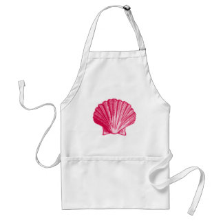 Tropical Hibiscus Blush Pink Sea Shell Adult Apron