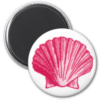 Tropical Hibiscus Blush Pink Sea Shell Magnet